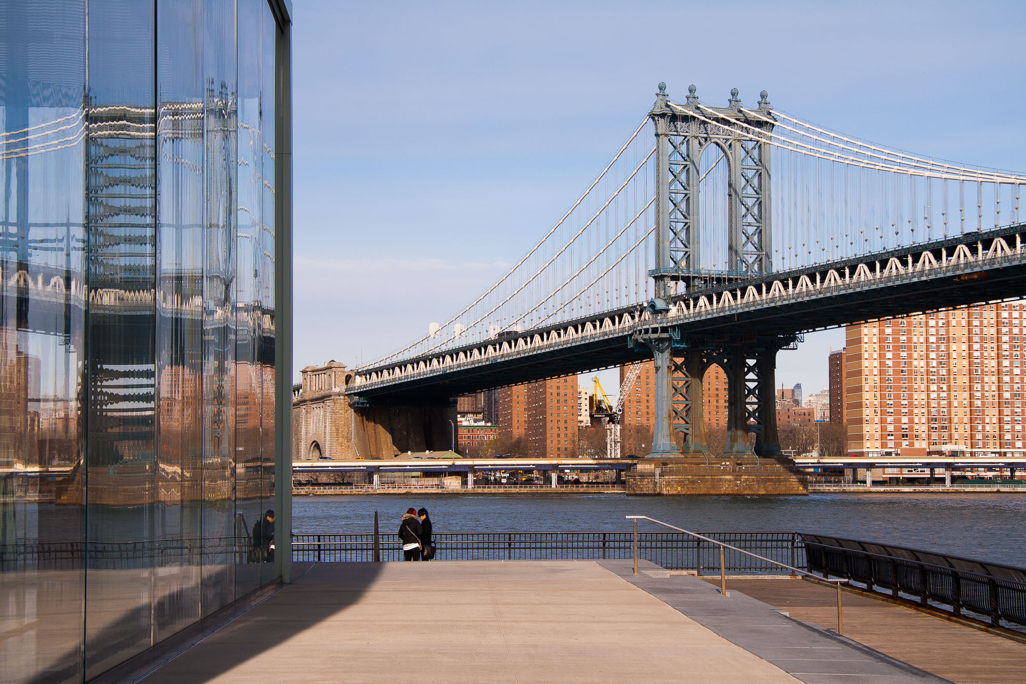 View of Manhattan Bridge from Brooklyn Bridge Park