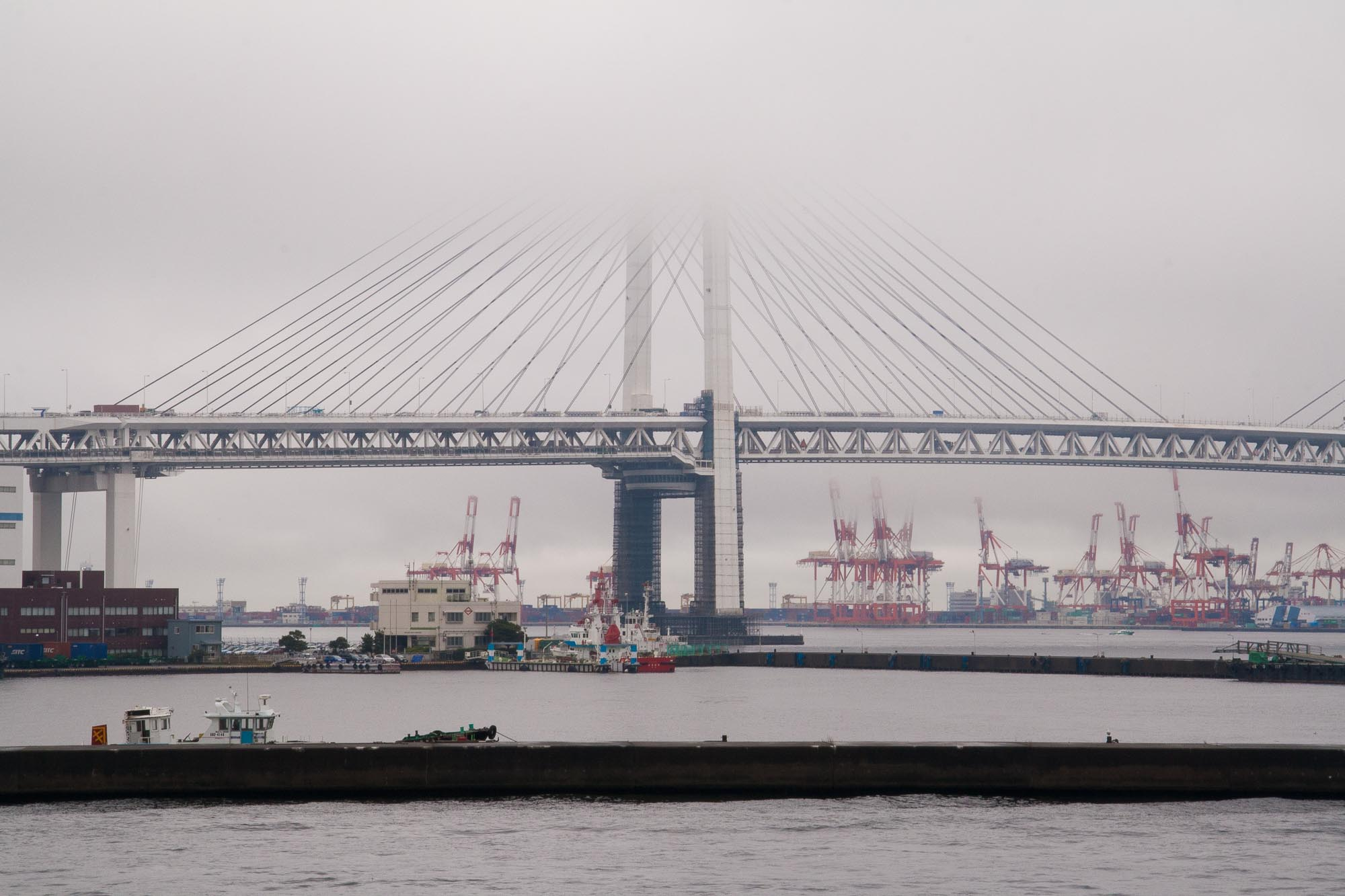 Yokohama Bay Bridge, with Honmoku Pier in the background.
